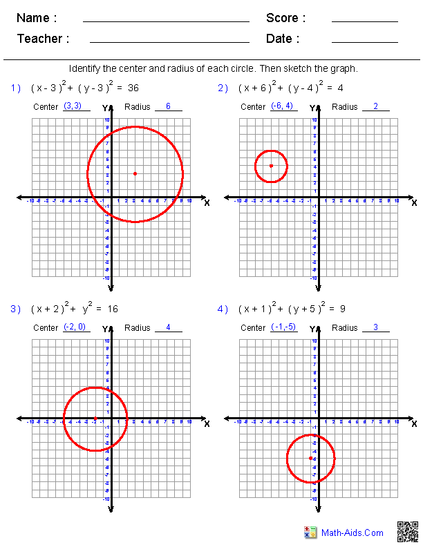 Equations Of Circles Worksheet: Graphing Equations of Circles Worksheets   Math Aids Com    ,