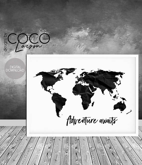 Adventure awaits print travel print world map poster black white adventure awaits print travel print world map poster black gumiabroncs Choice Image