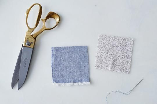 Cut two 3 ½-inch squares of fabric and align them with the sides you like facing inward. (You'll be sewing the the sachets inside out before finishing.) I used a soft paisley and denim, allowing the finished selvage edge to remain as a little flourish on the fourth side.