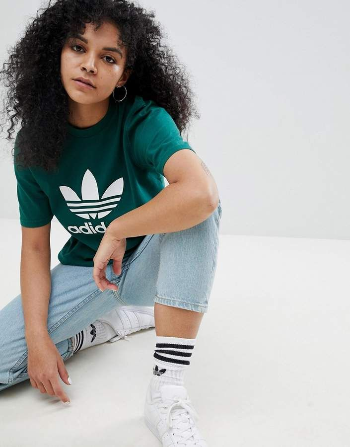 18a7e472 adidas Originals adicolor Trefoil Oversized T-Shirt In Green ...