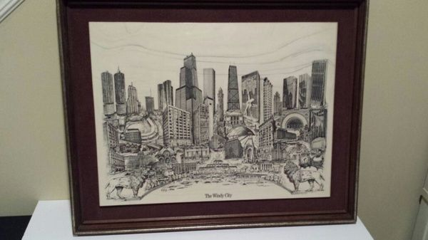 "Fantastic piece of Chicago art. This framed marble features ""The Windy City"" and was etched to perfection by artist Dennis Bivens. It is signed and number 4012 out of only 5000 made.  Great addition for any Chicagoan's collection!  Dimensions: Marble is 21 x 15.5 Frame is 25 X 20  Please email or text for more info. Thanks for viewing!   Additional pics at:  http://chicago.craigslist.org/wcl/atq/4750207418.html"