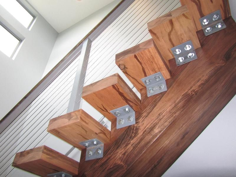 Best Mono Stringer Stairs Using All Wood With Stainless Steel 400 x 300