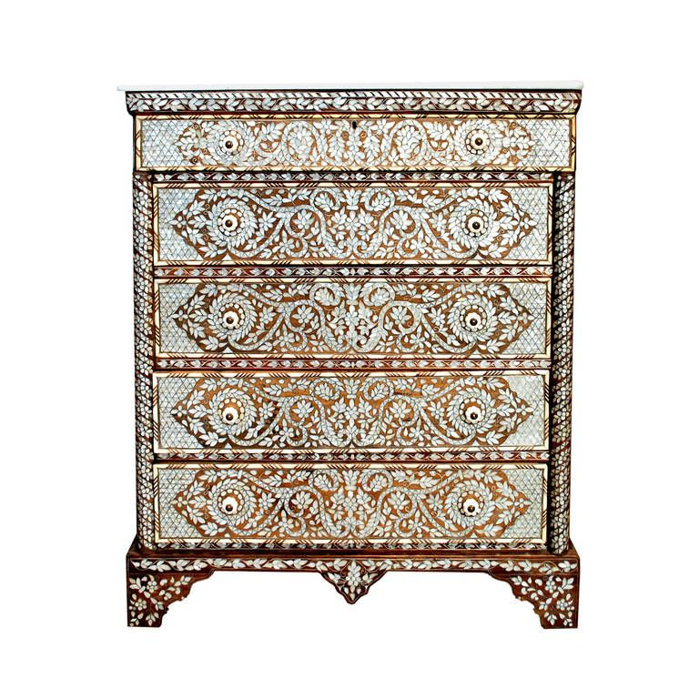 Unique Mother Of Pearl Cabinet: 20th Century Syrian Mother-of-Pearl-Inlaid Chest Of