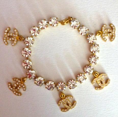 Chanel Vintage Rhinestone Charm Bracelet Aso Miley Cyrus Rihanna Vintage Chanel Jewelry Vintage Chanel Charm Bracelet