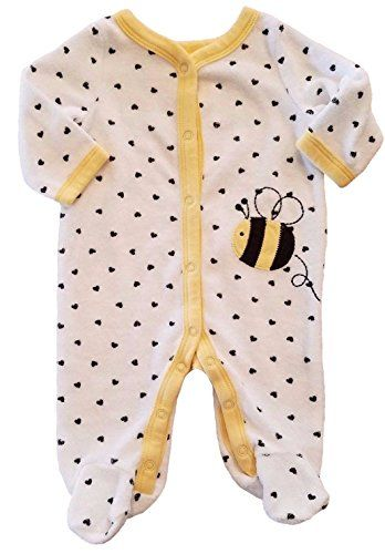 197849d880d7 Honey Bee Baby Girls Boys Terry Cloth Footed Sleep Play Outfit 3 ...