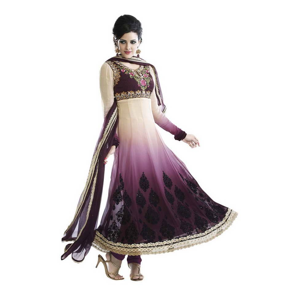 Shop Fabdeal Cream And Light Purple Colored Georgette Unstitched #SalwarSuit -  (Cream And Light Purple) online at lowest price in USA and purchase various collections of #Partywear Churidars in Fabdeal brand at grabmore.com the best #onlineshopping store in #USA.
