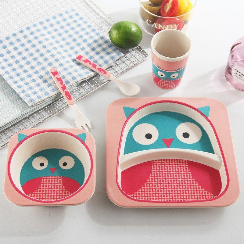 Natural Bamboo Fiber Tableware Set For Kids 5pcs Sets Kids Dinner Sets Tableware Set Baby Dish Sets
