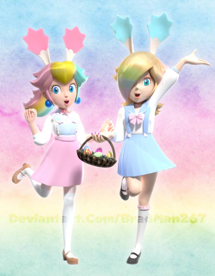 Peach And Rosalina Easter Ific Joy By Bradman267 Super Mario Art Girls Cartoon Art Mario Art