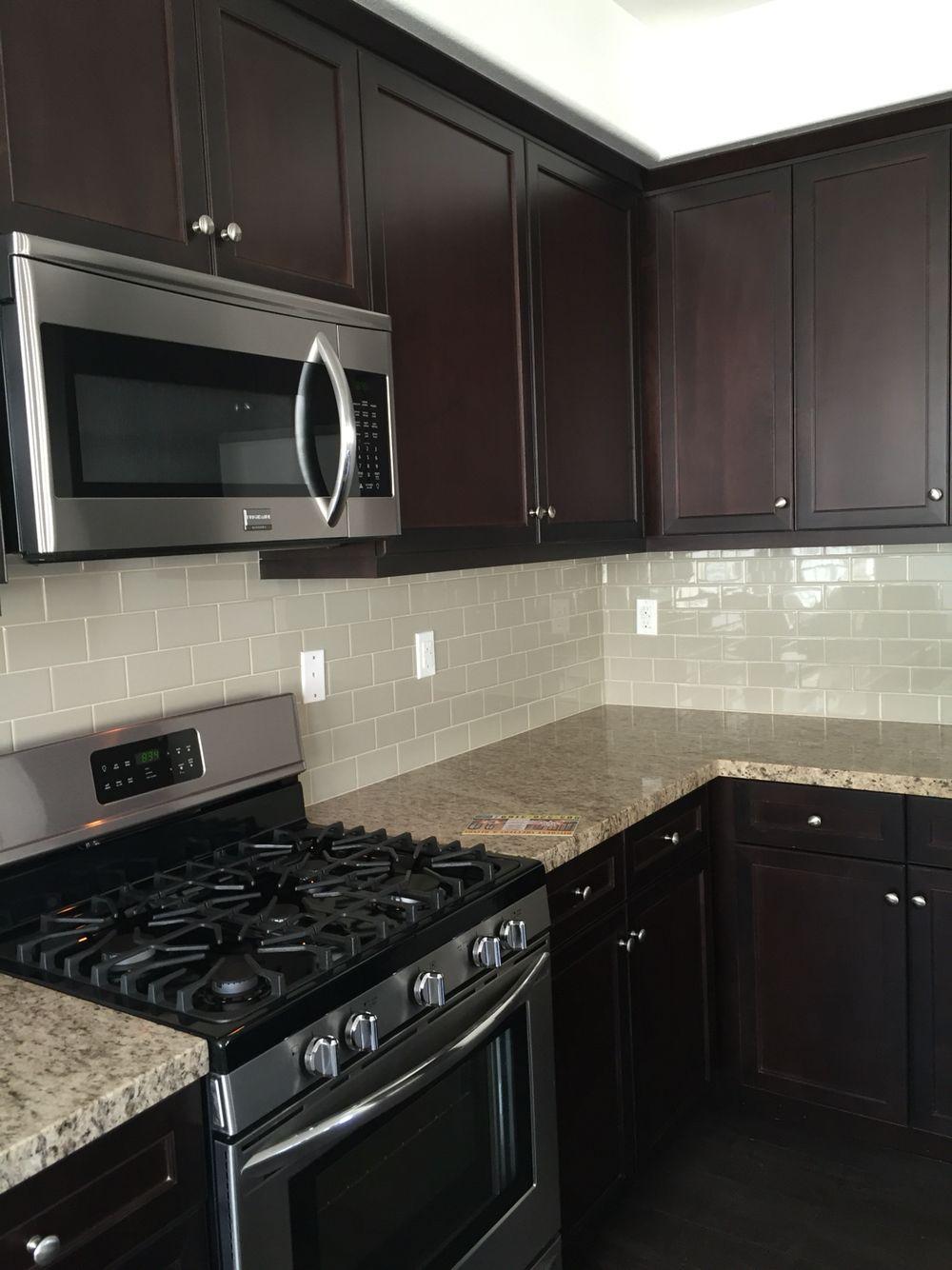 Dark color kitchens (With images)   Simple kitchen remodel ... on Backsplash Ideas For Dark Cabinets  id=89878