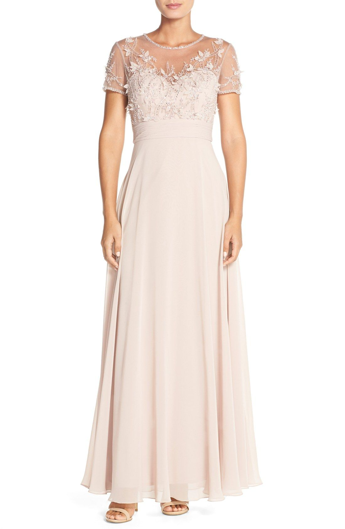 JS Collections Embellished Mesh & Chiffon Gown | Dresses | Pinterest ...