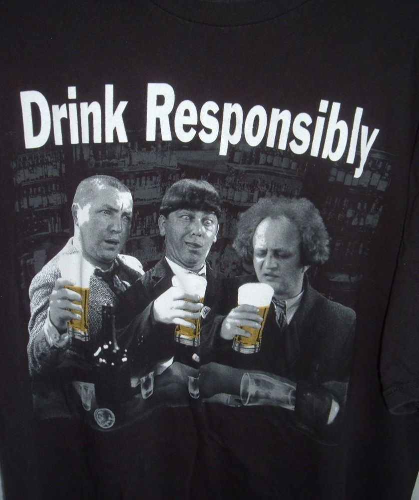 6c69e74245 The Three Stooges Drink Responsibly 2XL black Tee shirt #Delta #TShirt