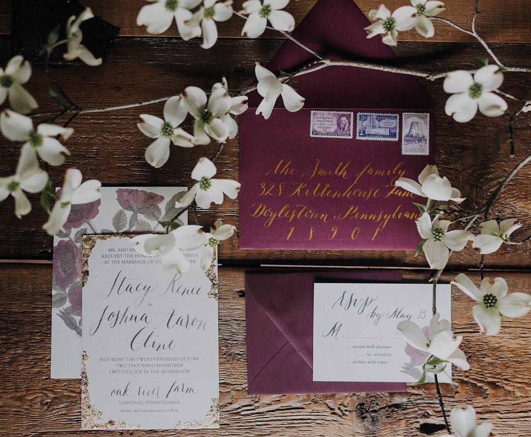 Moody Burgundy Wedding Invitations Envelope Calligraphy Vintage