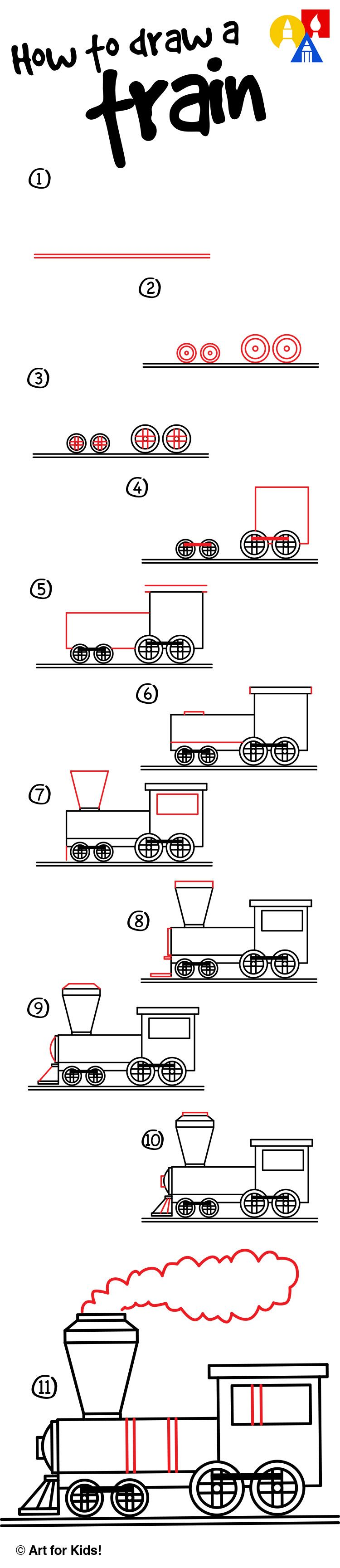 How To Draw A Train Art For Kids Hub Pre School Artists
