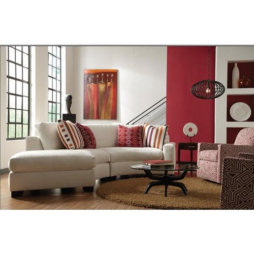 Rowe Fenwick Contemporary Two Piece Curved Sectional Sofa with RAF Chaise - Belfort Furniture - Sofa Sectional Washington DC, Northern Virgi...