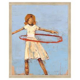 "Framed giclee print showcasing an abstract portrait of a girl hula-hooping. Made in the USA.   Product: Wall artConstruction Material: WoodColor: Cream frameFeatures: Made in the USADimensions: 22"" H x 18"" W x 2"" D"