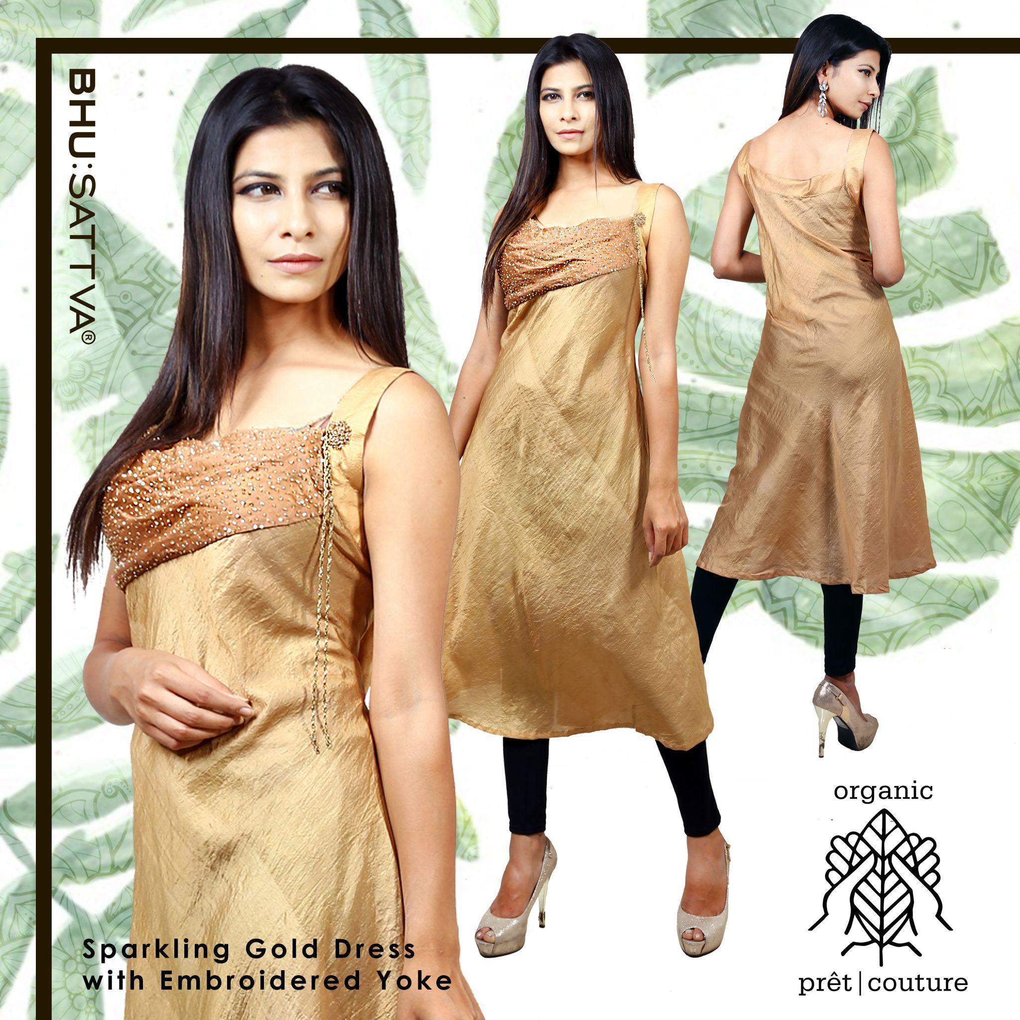 Green is our gold and we respect its preciousness. Embrace this classy and sparkling sleeveless golden dress with embroidered yoke, from the house of #Bhusattva  #Organic #Pret #Couture #GoldDress #Sleeveless #GreenGold #HandEmbroidered #SkinFriendly #BreatheEasy #ReflectOrganic #RevealYourself #iWearBhusattva #BelieveWhatYouWear #TrustNature #MysticalNature #CloseToNature #OrganicIdeology #OrganicCollection #NaturalDyes #EcoFashion #OrganicFashion #SustainableFashion #GoOrganic