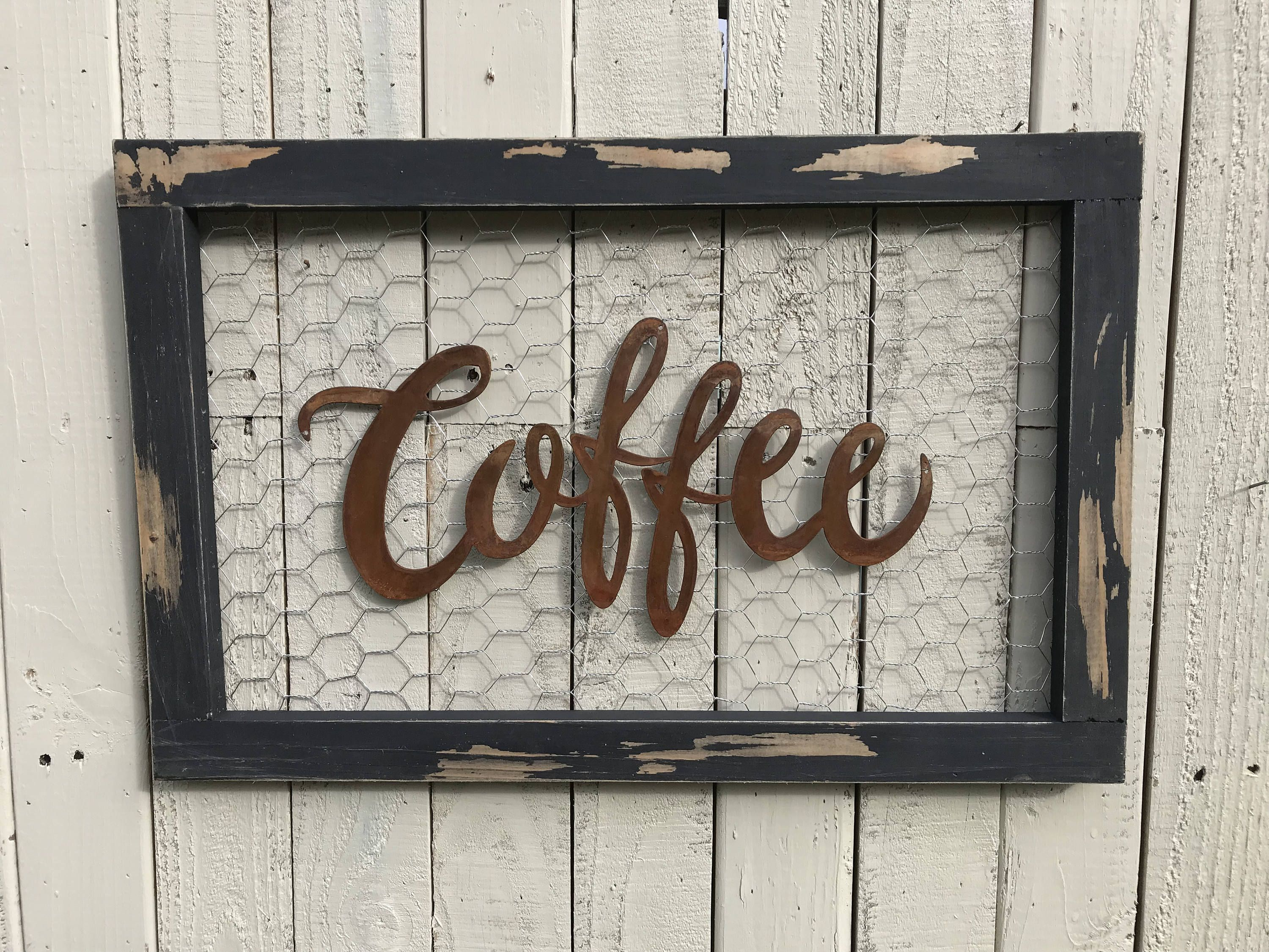 Chicken wire sign, Coffee Bar Sign, Metal Coffee Sign, Farmhouse ...