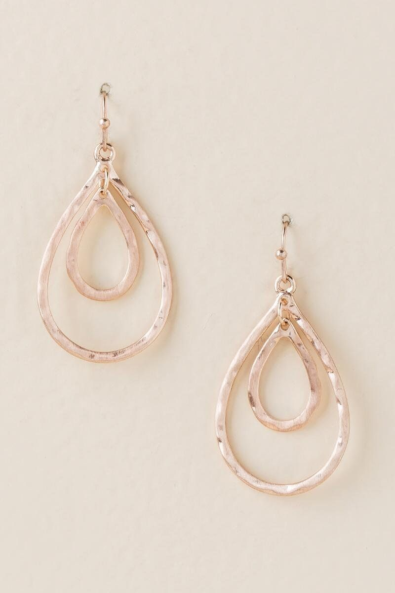 Priya Double Teardrop Earring In Rose Gold