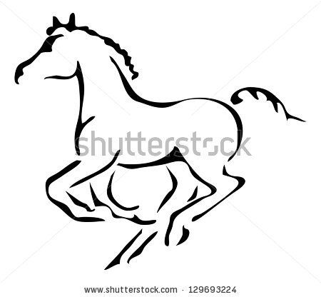 Black And White Vector Outlines Of Galloping Foal By Paganin Via Shutterstock Horse Silhouette Horse Print Foals