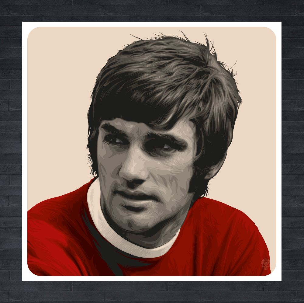"""George Best Manchester United 30"""" x 30"""" portrait print all hand"""