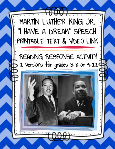 Watch Read Mlk S I Have Dream Speech Need No Prep Martin Luther
