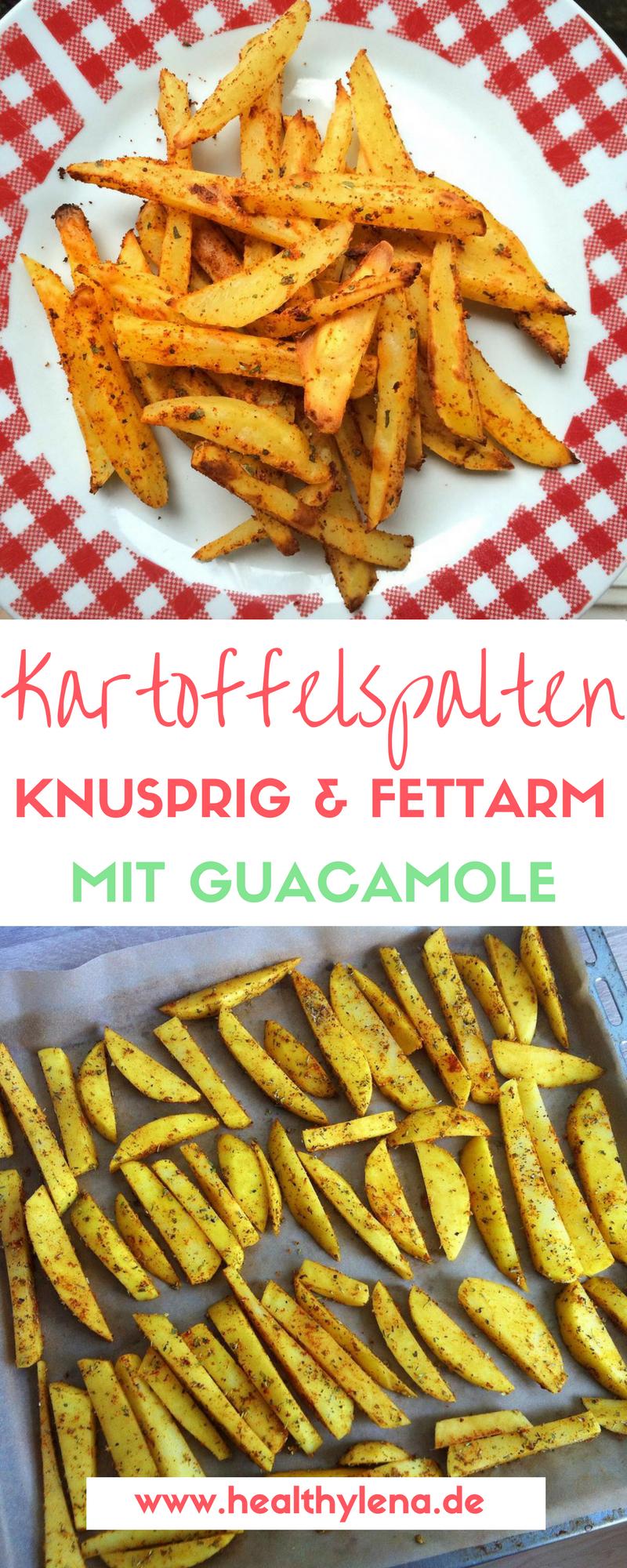 Knusprige fettarme Kartoffelecken mit Guacamole #kartoffeleckenbackofen