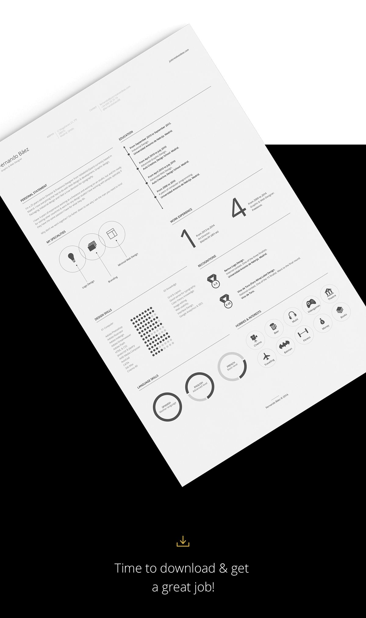 Free resume template on behance with images minimal