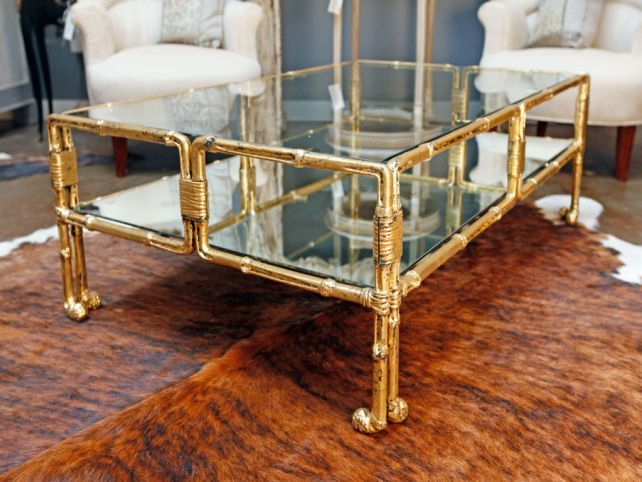 Coffee Table Bamboo Base Gold