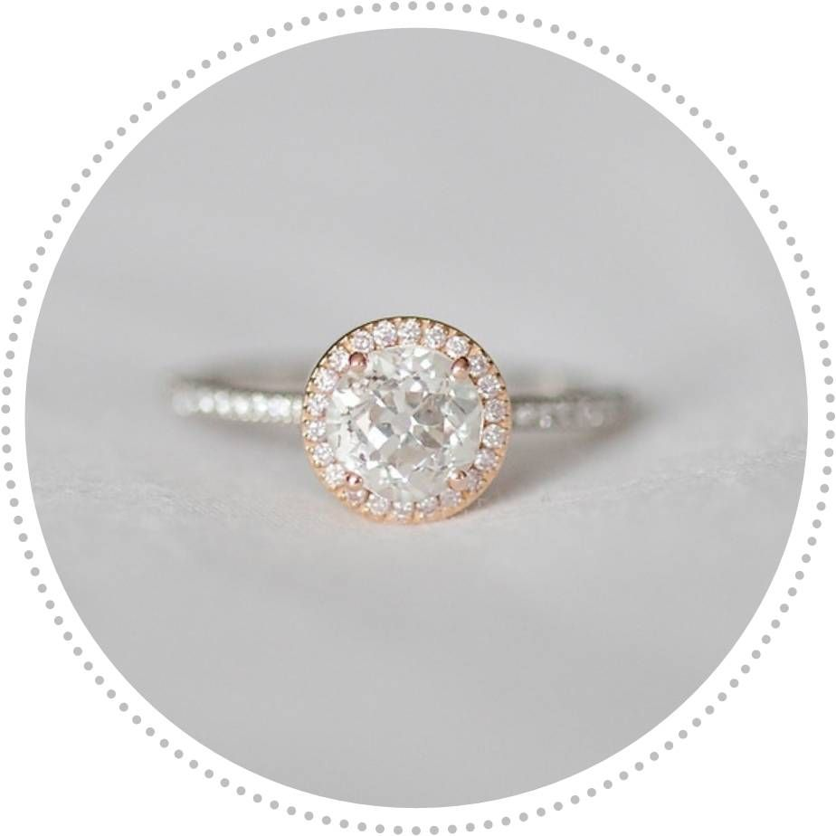Vintage style engagement ring rose gold engagement ring round