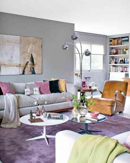 violet et nuances pastel dans salon