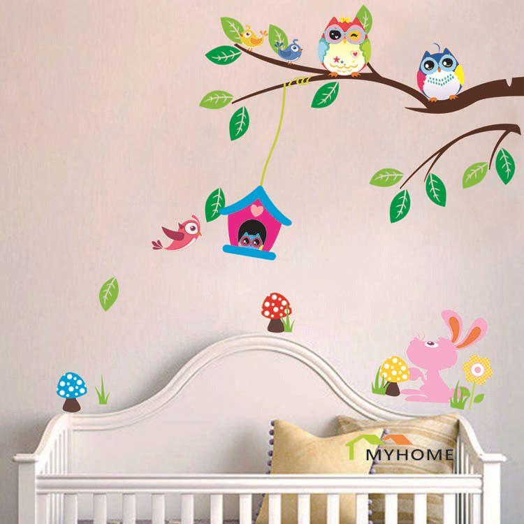 pas cher cartoon animaux amovible b b enfant d calcomanies oiseaux mignon chouette stickers. Black Bedroom Furniture Sets. Home Design Ideas