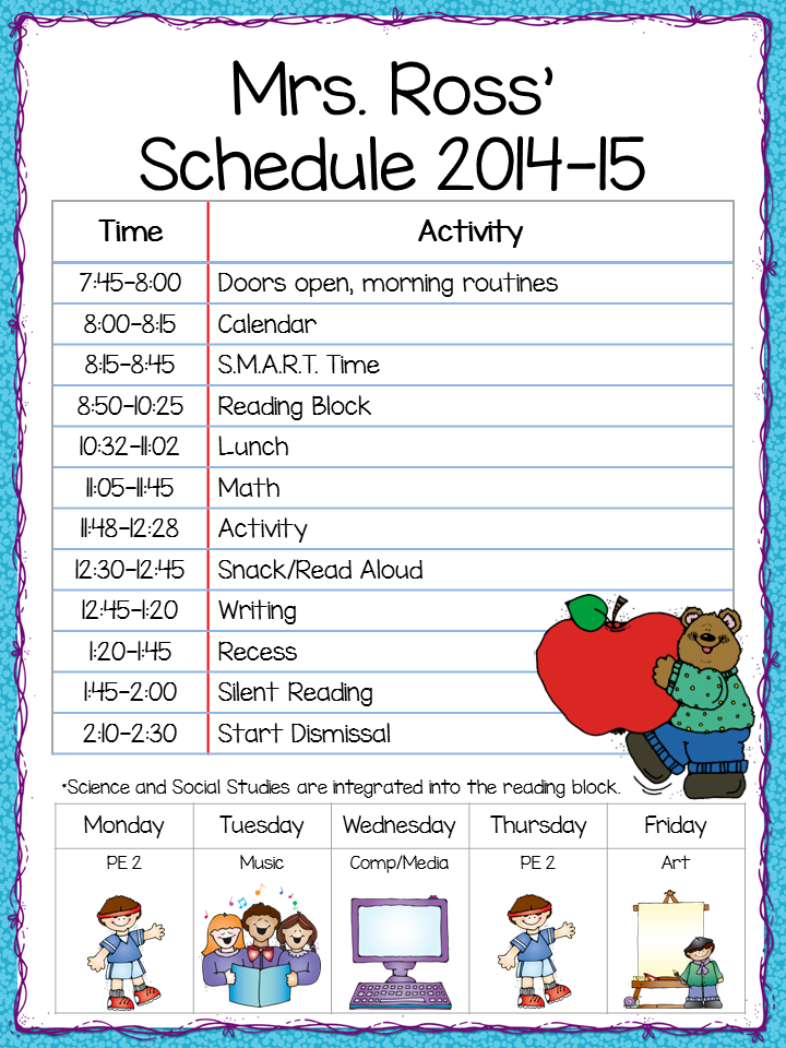 class schedule freebie the teacher s cauldron first day of
