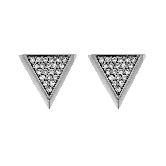 acd69ff1a 18k White Gold Diamond Earrings Large Tres Puntos - Default Title ...