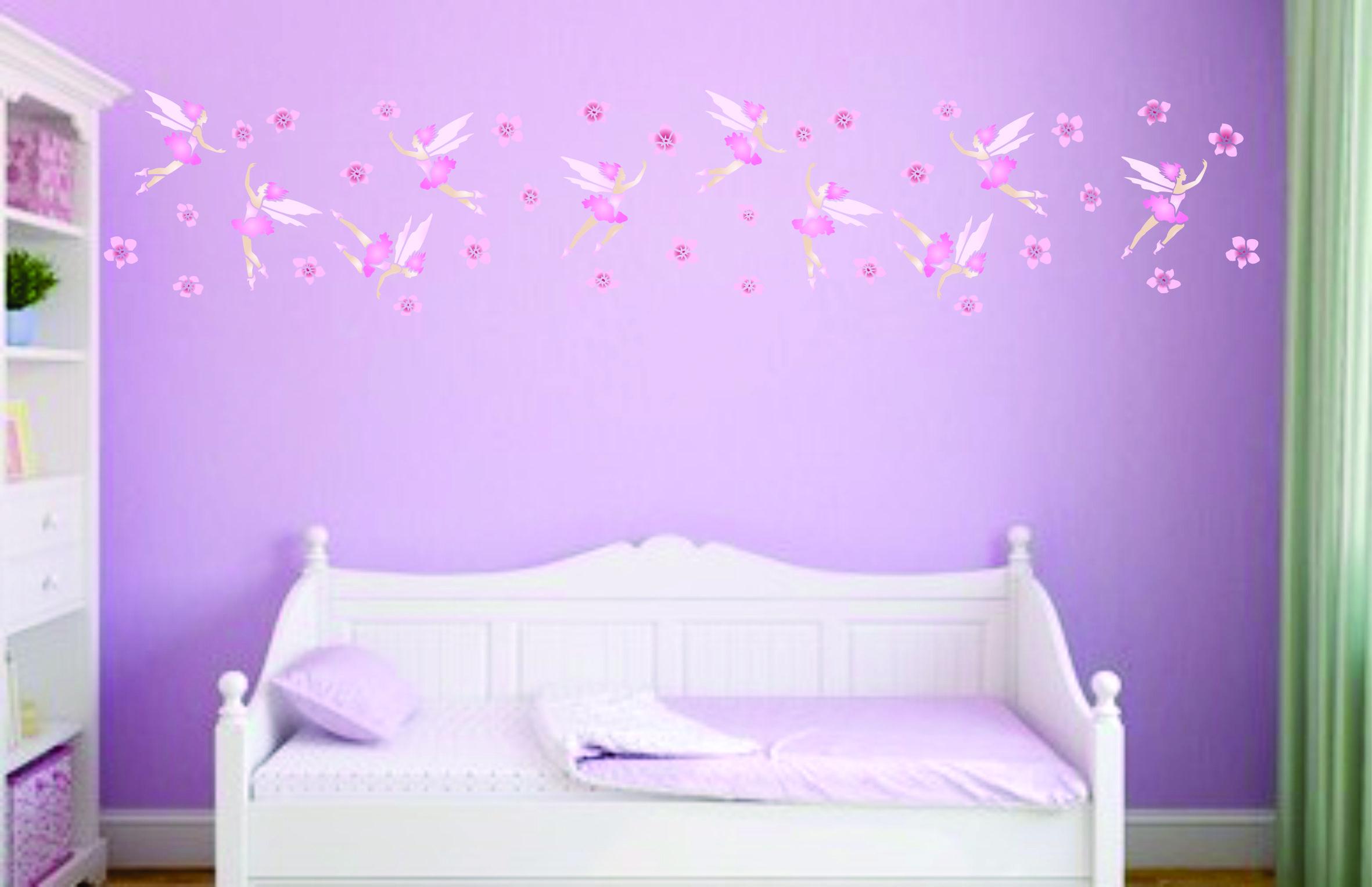 Beautiful Spring Fairies Stencil For Easy Diy Walls In A Girls