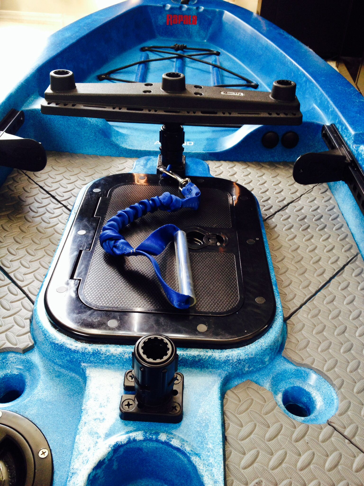 My ascend fs12t with diy silient traction mat hobie thru for Ascend fs12t fishing kayak
