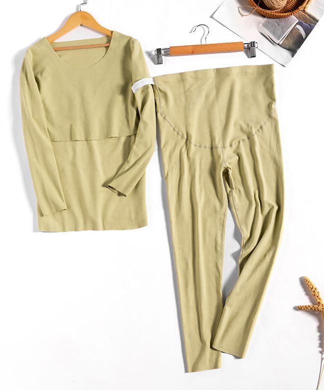 YEN'S BRA™ - Pure Cotton Soft Maternity and Nursing Pyjamas - Green / XL
