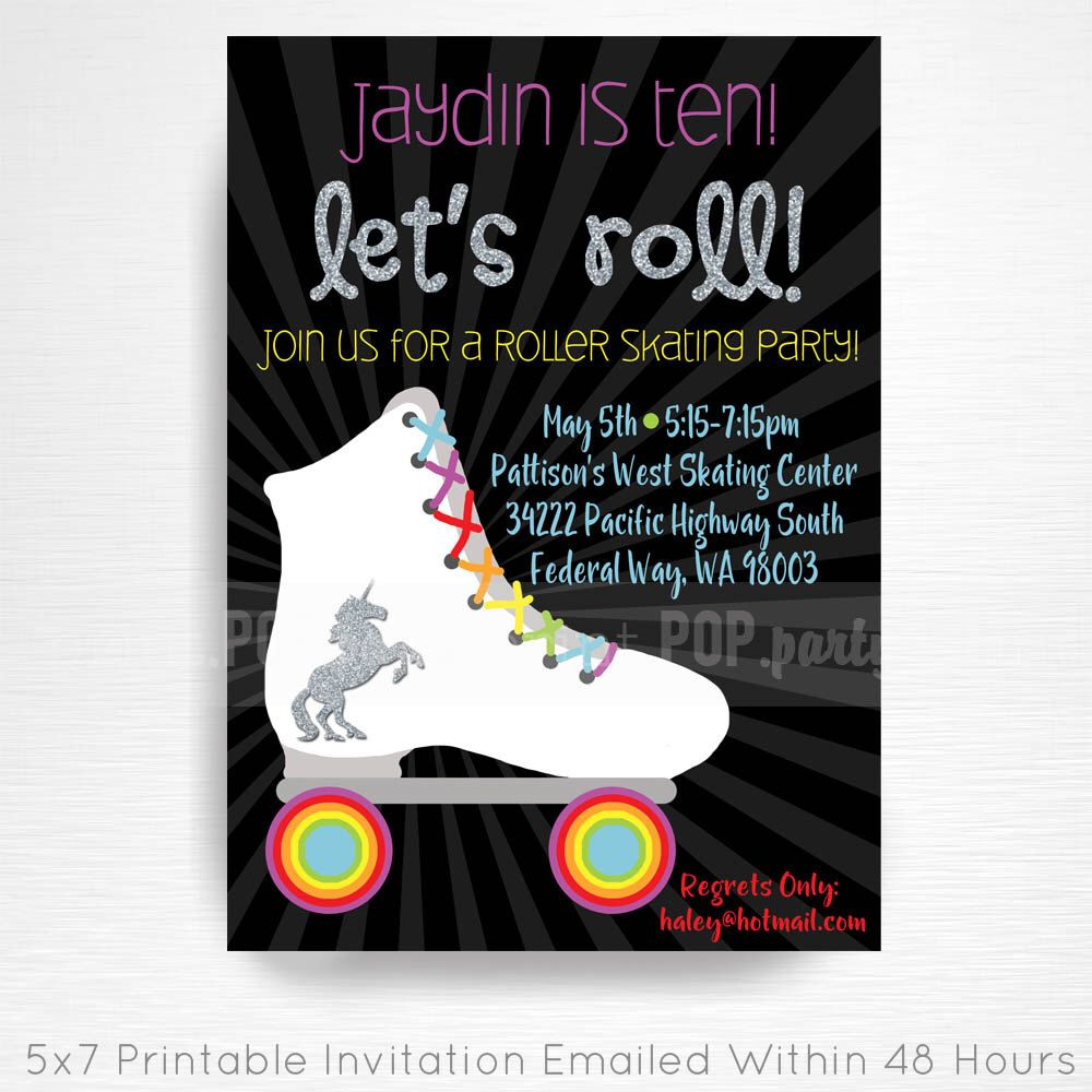rollerskate rainbow unicorn birthday