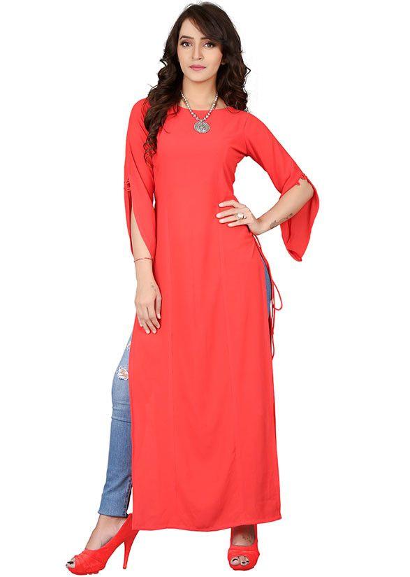 5e504361ca Stylish Coral Red Party Wear Kurti | Tunics | Kurti, Party wear, Red ...