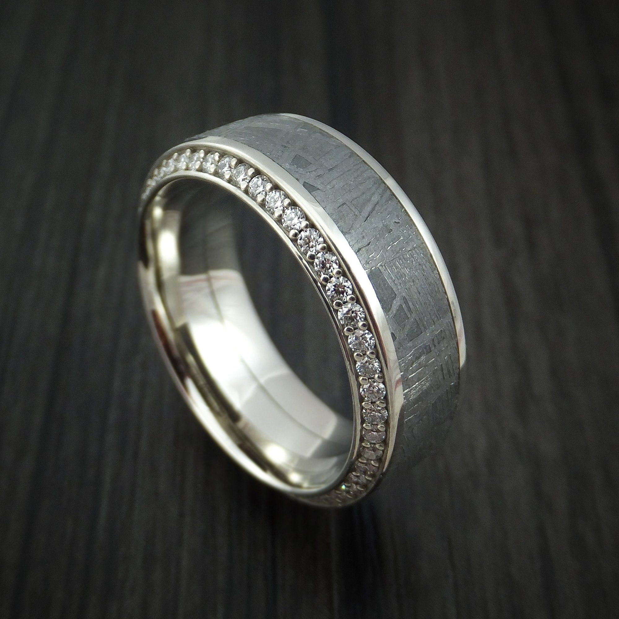 14K White Gold Ring with Meteorite Inlay and Eternity Set