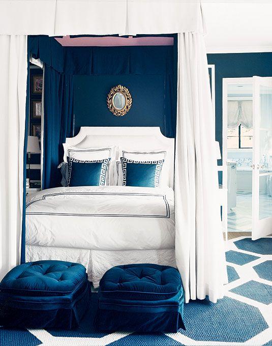 Schlafzimmer Grun Blau 3 #18: Schlafzimmer, Erste Wohnung, Garten, Blau Und Weiß, Große Weiße, Blau Grün,  Für Zu Hause, 3/4 Betten, Himmelbetten