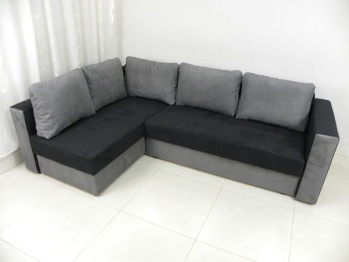 New Chaise Hidden Bed Corner Sofa Sofa Bed Teddy Iii Black Grey Nr1 Ebay Hidden Bed Corner Sofa Sofa Bed