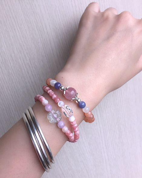 :::*CaWaiiDaisy*:::手創天然石飾品-馬島粉晶*丹泉石*橘月光石手鍊 - CaWaiiDaisy Handmade Jewelry | Pinkoi