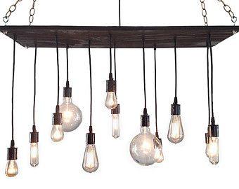 Industrial lighting wood chandelier organic finish⋆Edison ...