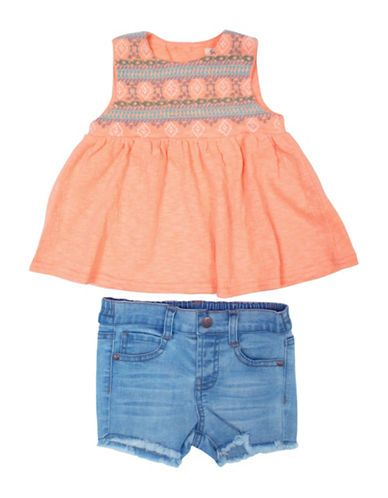 Jessica Simpson Baby Clothes Prepossessing Jessica Simpson Twopiece Tribal Safari Tank And Jean Shorts Set Design Ideas