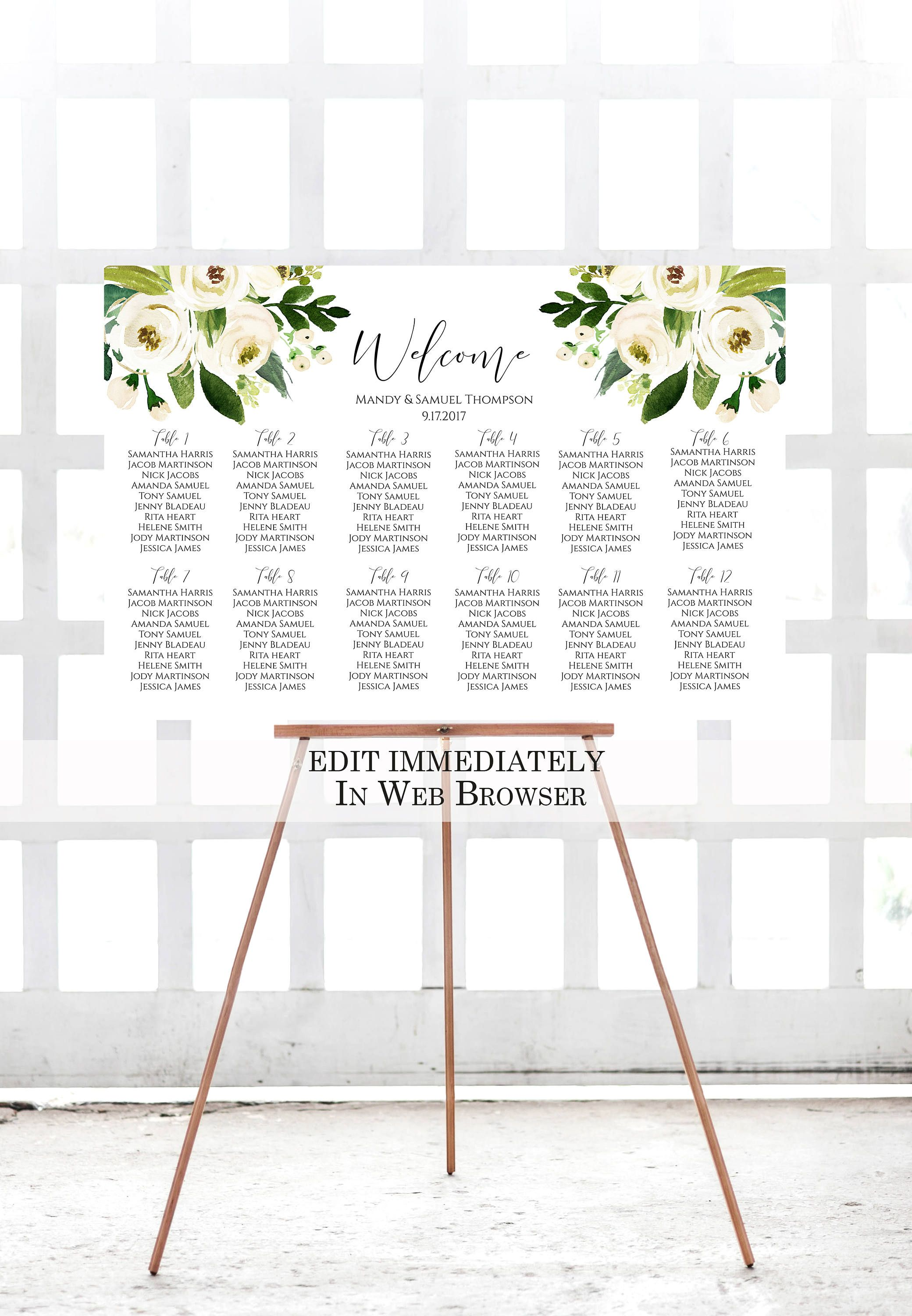 White Floral Wedding Seating Chart Template Printable