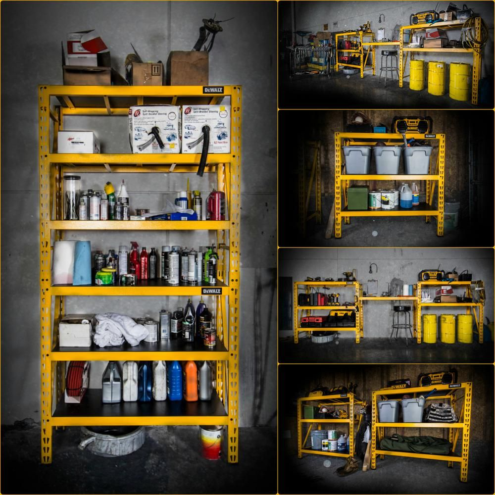 04c000eb24b DEWALT 48 in. H x 50 in. W x 18 in. D 3-Shelf Steel   Laminate Expandable  Industrial Storage Rack Unit in Yellow-DXST4500 - The Home Depot