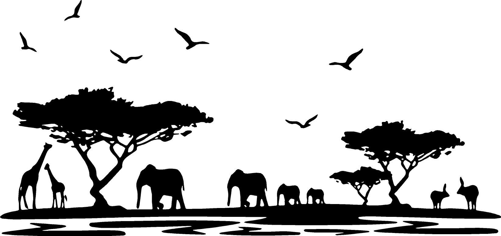 Africa Wildlife Silhouette of Giraffes Elephant Birds on Glossy Poster Print