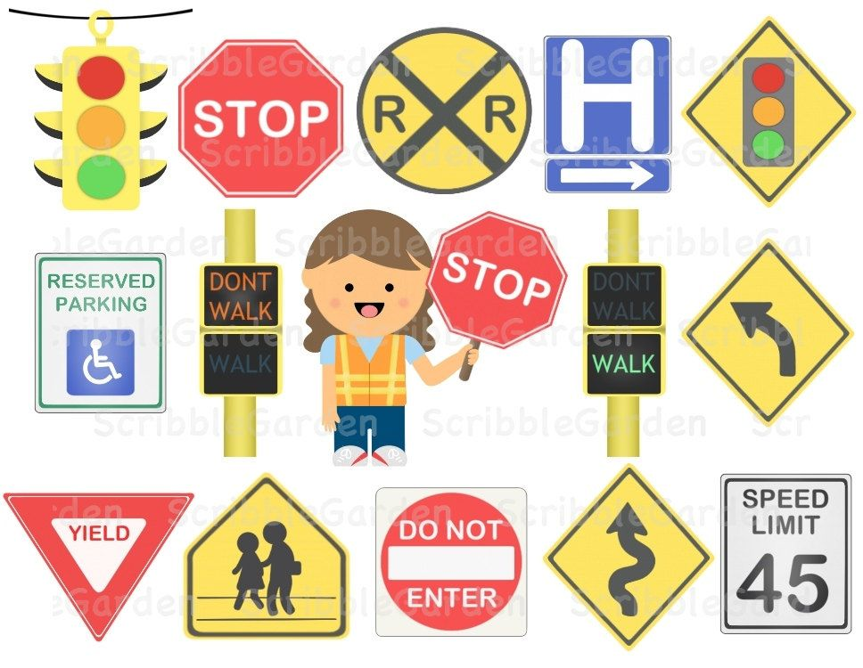 Road Safety Street Signs ClipArt in 2020 Road safety