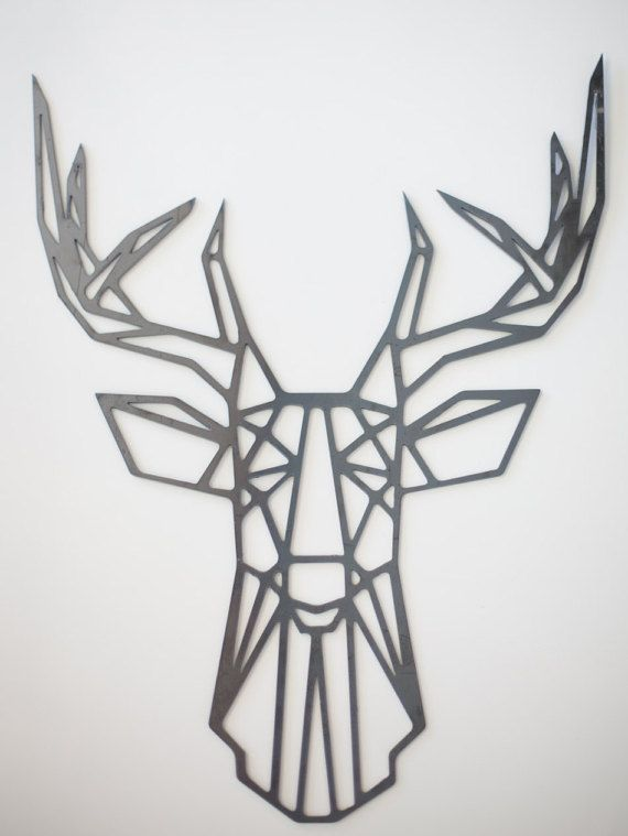 Metal Geometric Deer Wall Art Steel Home Decor Metal Art Deer Deer Wall Art Geometric Deer Metal Wall Art