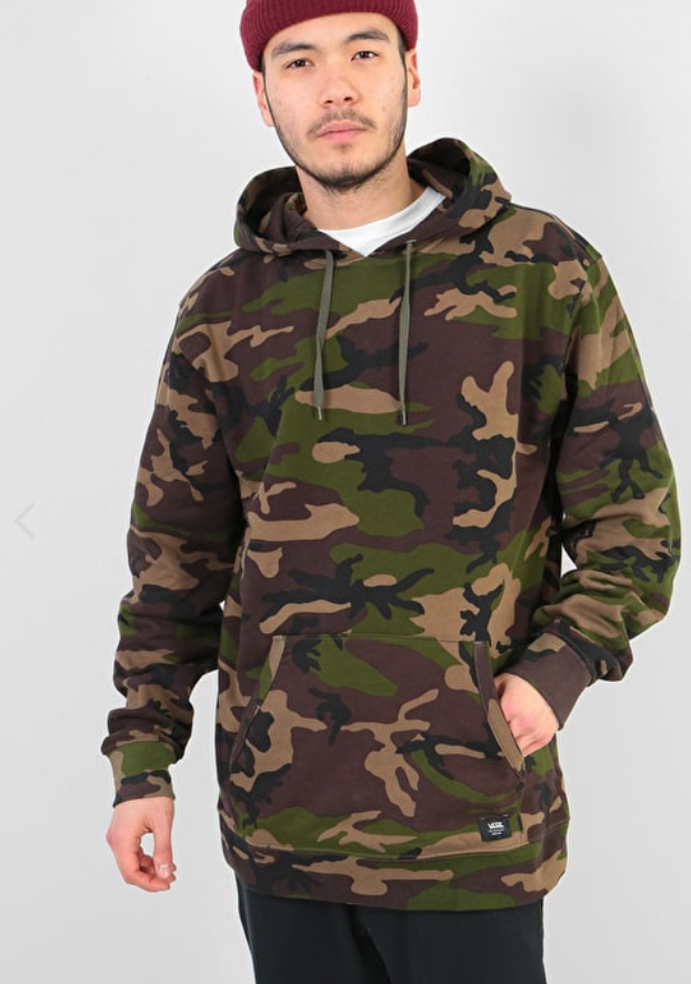 55429c8c9e8625 Vans Men s New Hunter Regular Fit Pullover Hoody Woodland Camo Green Vans  have gone all out